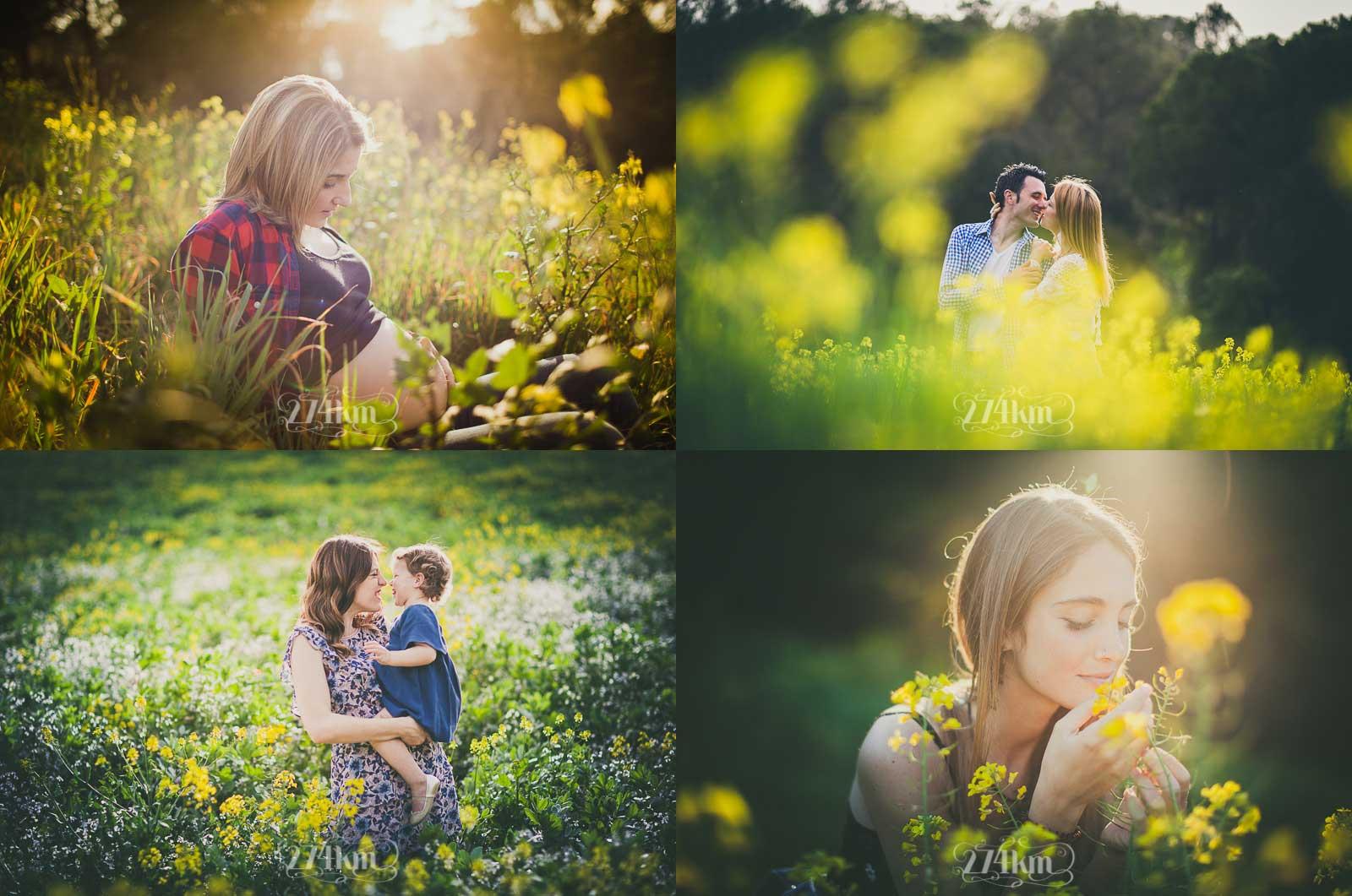 sesión de fotos en exterior en primavera campo flores barcelona
